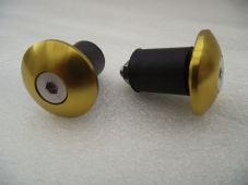 Motorcycle Bar End Plugs - Crash Protectors gold alloy for 22mm steel bars